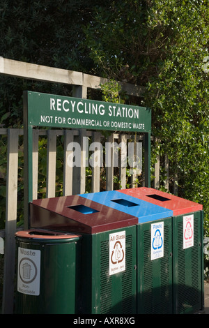 South Island New Zealand Recycling station bins for glass plastic and cans - Stock Photo