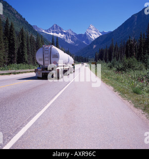 Tanker Truck on the Trans Canada Highway 1 in Glacier National Park in the Canadian Rockies in British Columbia - Stock Photo