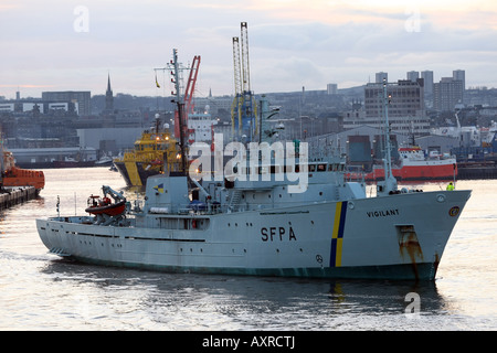 Scottish Fisheries Protection Agency Vessel Vigilant leaving Aberdeen harbour, Scotland, UK - Stock Photo