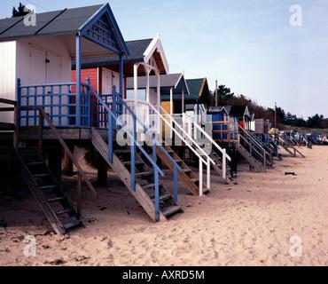 Row of beach huts along the beach at Wells Next the Sea, Norfolk, UK - Stock Photo