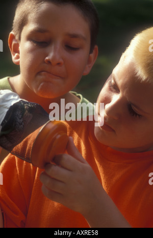 Boys Looking at Bugs - Stock Photo