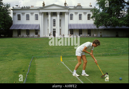 A croquet match at the Hurlingham Club London England UK HOMER SYKES - Stock Photo