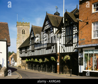 Holy Trinity Church and Guildhall Much Wenlock Shropshire - Stock Photo