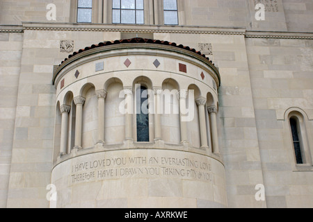 Writing on Cathedral of Immaculate Conception in Washington, DC - Stock Photo