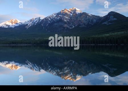 Sunrise over Pyramid Lake in Jasper National Park, Canada - Stock Photo