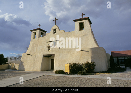 A view of St Augustine catholic church and mission on the Isleta Indian Reservation near Albuquerque - Stock Photo