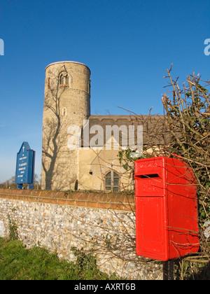 Stone Designed in the surrounding walls of The Parish Church of St Margaret s Herringfleet Suffolk England GB - Stock Photo