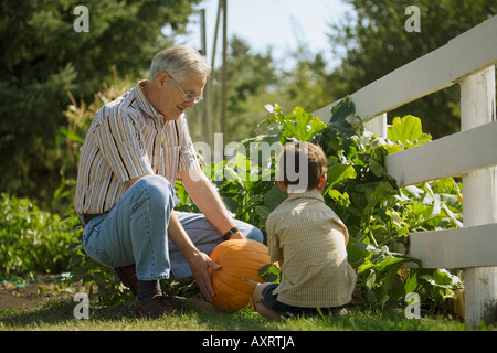 Grandpa and grandson looking at a pumpkin - Stock Photo