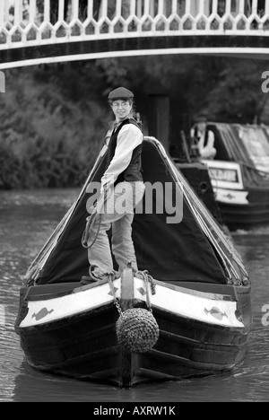 B&W taditional FMC narrowboat & butty on the Grand Union Canal - Stock Photo