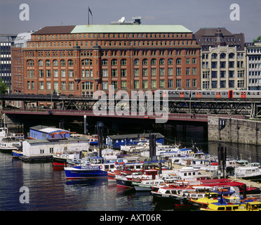 geography / travel, Germany, Hamburg, harbour, launches in inland harbour, urban railway in front of Sloman house - Stock Photo