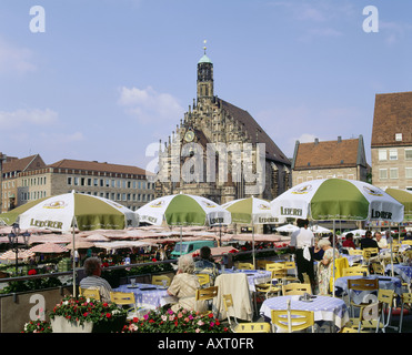 geography / travel, Germany, Bavaria, Nuremberg, Frauenkirche at main market with market stands,   church of our - Stock Photo