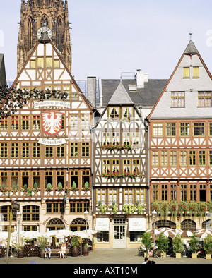 geography / travel, Germany, Hesse, Frankfurt am Main, city hall 'Roemer', half-timbered houses on Roemerberg,  - Stock Photo