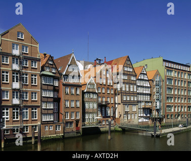 geography / travel, Germany, Hamburg, city views, cityscape Nikolaifleet at inland harbour, historical, historic, - Stock Photo