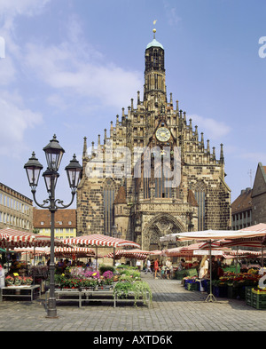 geography / travel, Germany, Bavaria, Nuremberg, churches, Frauenkirche at main market with market stands,   exterior - Stock Photo