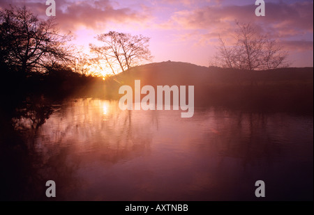 The Fairy Hill or Doon Hill and River Forth at sunrise, Aberfoyle, the Trossachs, Stirling, Scotland, UK - Stock Photo