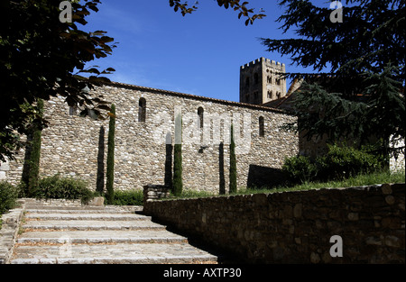 monastery or abbey of saint michel in cuxa departement pyrenees orientales - Stock Photo