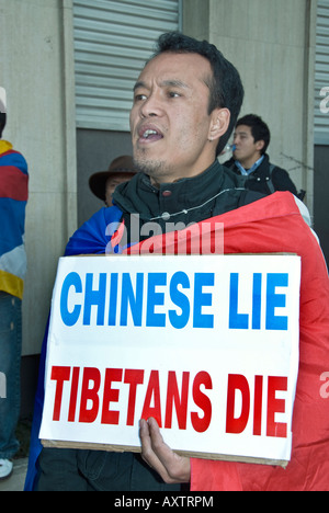 Paris FRANCE, Tibet Demonstration, Tibetan Immigrants 'Global Day for Tibet' Man Holding protest Sign 'Chinese Lie - Stock Photo