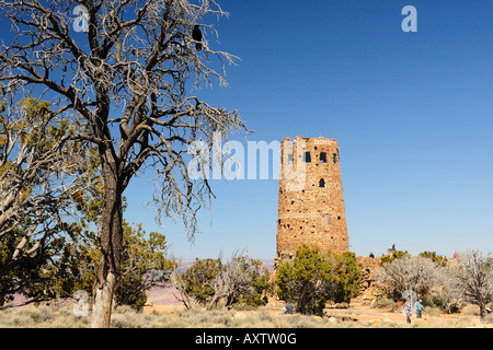 Desert view watchtower on the south rim of the Grand Canyon National Park Arizona designed by Mary Colter,. - Stock Photo