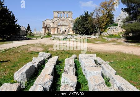 Ruins of the St Simeon basilica, 'qala'at samaan', a historical and tourist landmark located near Aleppo, Syria. - Stock Photo