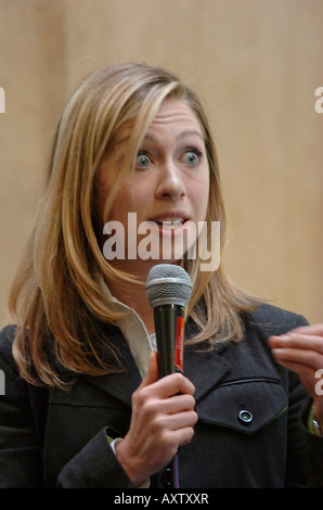Chelsea Clinton speaks to students faculty and other attendees at West Chester University PA as part of her speaking - Stock Photo