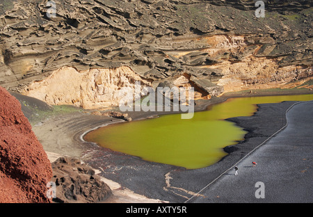 Lago de los Clicos (green lagoon) near El Golfo on Lanzarote in the Canary islands. - Stock Photo