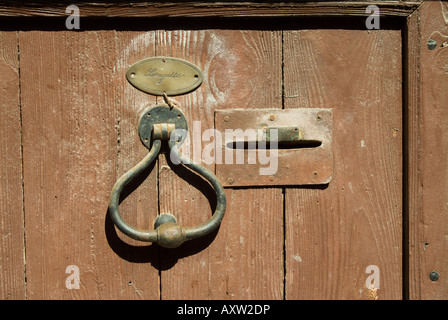 Old brass door knocker, name plate and letterbox on brown wooden door, France - Stock Photo