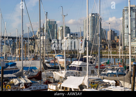 Boats are docked at a marina in Fales Creek Vancouver Canada - Stock Photo