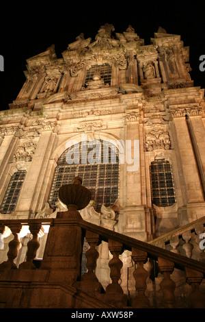 Igreja dos Clérigos (Church of the Clergy) by night, Porto, Portugal - Stock Photo