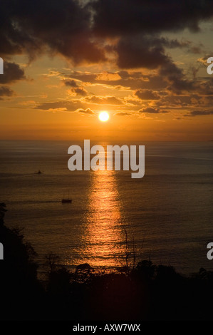 Sunset over Pacific near Manuel Antonio, Costa Rica - Stock Photo