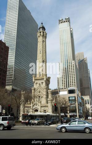 The historic Water Tower, near the John Hancock Center, Chicago, Illinois, USA - Stock Photo