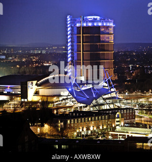 Neue Mitte with the event hall Arena Oberhausen, the modern bus and streetcar station and the Gasometer, Germany, - Stock Photo