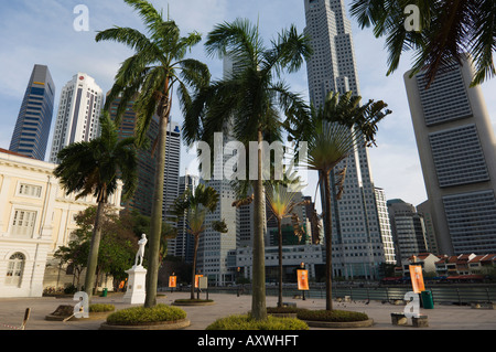 Raffles Landing Site, Financial District beyond, Singapore, Southeast Asia, Asia - Stock Photo