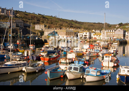 Colourful old wooden fishing boats in the harbour, Mevagissey, Cornwall, England, United Kingdom, Europe - Stock Photo