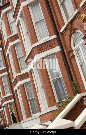 Red brick bay fronted houses in llandrindod wells powys wales UK - Stock Photo