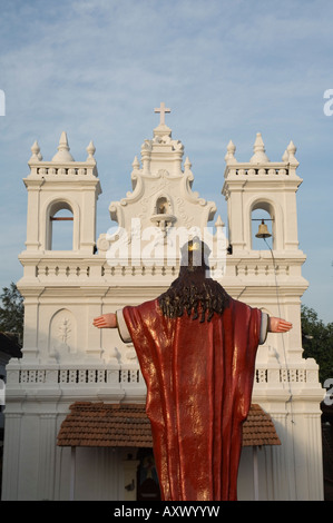 Old Portuguese church in grounds of Fort Tiracol, Goa, India - Stock Photo
