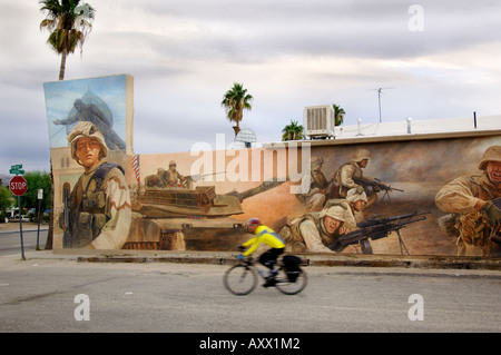 US Marine Mural in Twenty Nine Palms, home of largest  Marine Base in the USA near Joshua Tree National Park California - Stock Photo