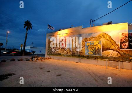 Illuminated Mural in Town of Twentynine Palms near Joshua Tree National Park in the Mojave Desert in California - Stock Photo