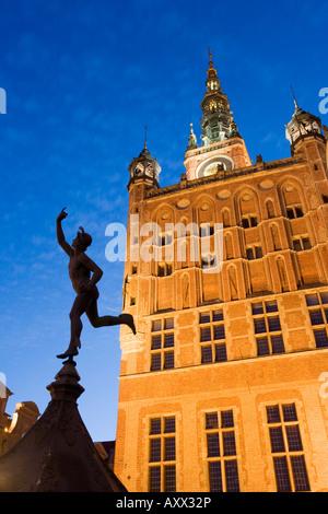 The Old Town Hall illuminated at dusk, Dlugi Targ (Long Market), Gdansk, Pomerania, Poland, Europe - Stock Photo
