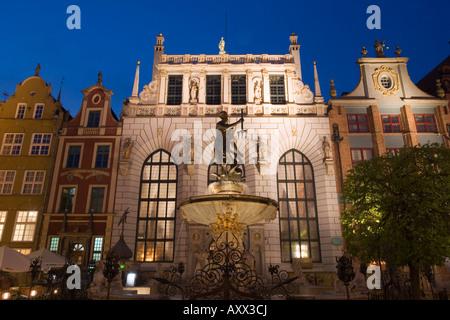 The Neptune Fountain, symbol of Gdansk, in front of Dom Uphagena, Dlugi Targ , Gdansk, Pomerania, Poland - Stock Photo