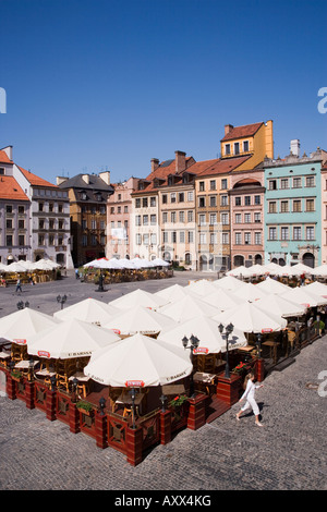 Colourful houses, restaurants and cafes The Old Town Square (Rynek Stare Miasto), UNESCO World Heritage Site, Warsaw, - Stock Photo