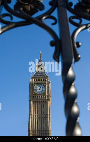 Big Ben through iron gates, Houses of Parliament, Westminster, London, England, United Kingdom, Europe - Stock Photo