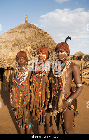 Portrait of three young women of the Hamer tribe, Lower Omo Valley, southern Ethiopia, Ethiopia - Stock Photo