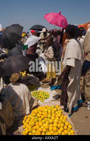 People walk for days to trade in this famous weekly market, Saturday market in Lalibela, Lalibela, Ethiopia, Africa - Stock Photo