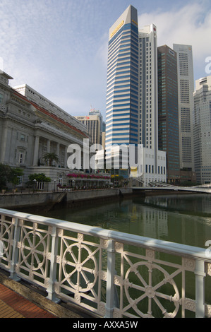 The Fullerton Hotel and the Financial District beyond from the Anderson Bridge, Singapore, South East Asia - Stock Photo