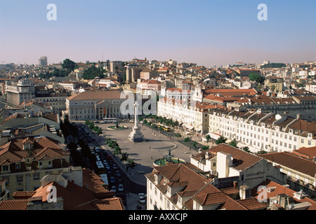 Rossio Square (Dom Pedro IV Square), Lisbon, Portugal, Europe - Stock Photo