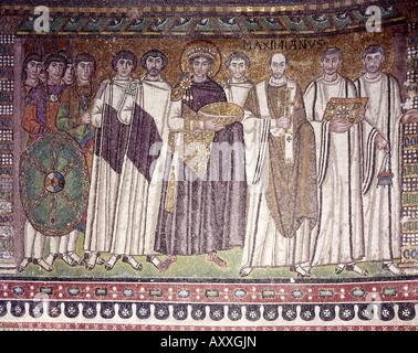 Justinian I (Flavius Petrus Sabbatius Justinanus), 482 - 14.11.565, Eastern Roman Emperor, with court, mosaic, circa - Stock Photo