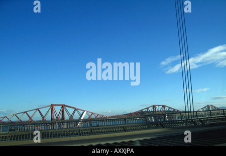 Forth Rail Bridge viewed from Forth Road Bridge Edinburgh Scotland - Stock Photo