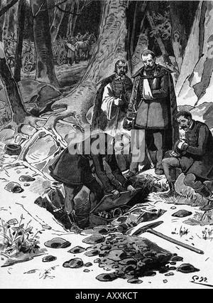 Kossuth, Lajos  16.9.1802 - 20.3.1894, Hungarian politician, burying the Hungarian regalia, August 1849, wood engraving, - Stock Photo