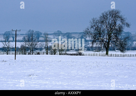 Farmland covered in Easter Snow over Hallington in the Lincolnshire Wolds - Stock Photo