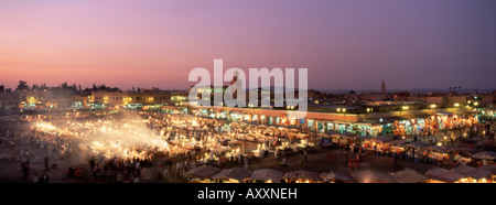 Place Jemaa El Fna (Djemaa El Fna) at dusk, Marrakesh (Marrakech), Morocco, North Africa, Africa - Stock Photo